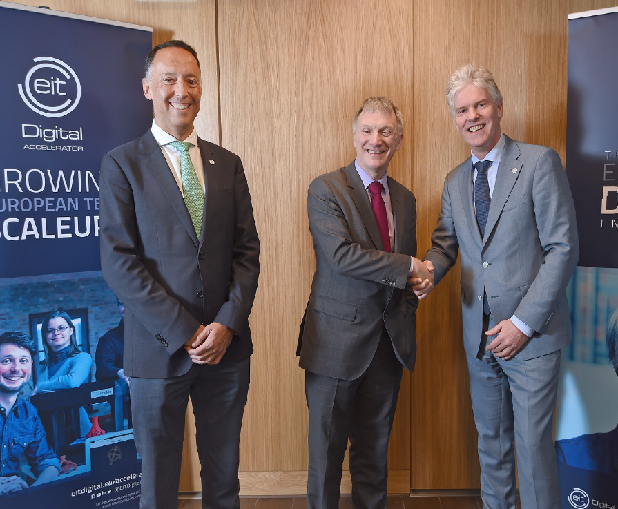 Scottish innovation minister Ivan McKee (middle) at the opening of EIT Digital's Scottish satellite office in Edinburgh.