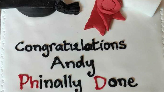 'Congratulations Andy Phinally Done'