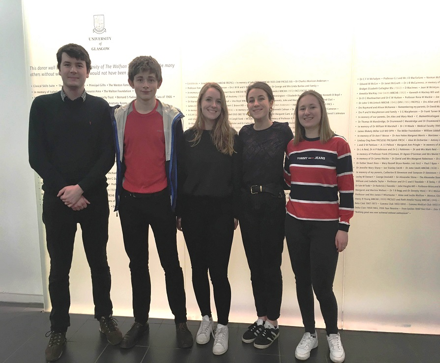 Photo caption: Erica, Sophie, Orla, Rudi and Blane from the University of Glasgow's Widening Access to Medicine Society, who all went through the Reach programme.