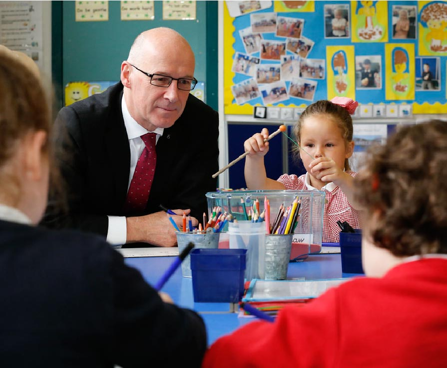 John Swinney, Deputy First Minister and Cabinet Secretary for Education and Skills with school pupils.